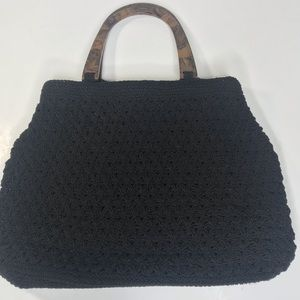 Liz Claiborne crocheted black satchel purse